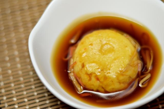 活ほたてレシピ ほたて入り豆腐茶巾蒸し