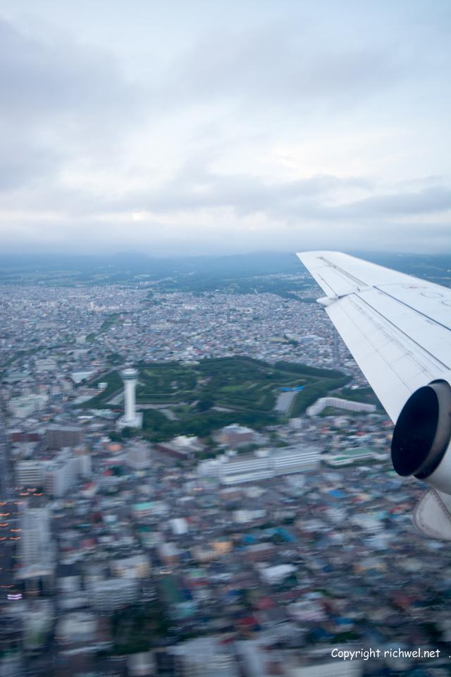 飛行機の窓から 五稜郭 函館